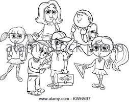 Scuola Di Gruppo Per Bambini Cartoon Libro Da Colorare Illustrazione