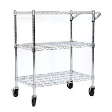 for kinbor 3 tire rolling kitchen cart office steel wire storage shelf heavy duty chrome at whole on crov com