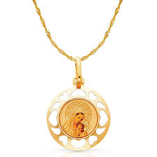 ioka 14k yellow gold blessed virgin and baby enamel picture charm pendant with 0 9mm singapore chain necklace com