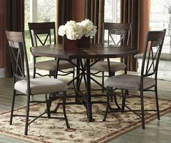 stylish dining room furniture fabric curved pedestal bar distressed finish round table for 4 dark brown