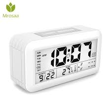 digital nightlight alarm clock electronic table desktop lcd display clocks modern design clock with time date