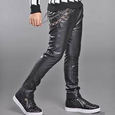 details about boys fur lined chain hip hop leather pants thicken warm rock punk trousers kids