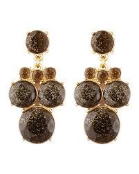 glitter chandelier earrings smoke gold