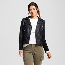 high fashion women juniors silver faux leather moto jacket 22wr835 polyurethane spread collar long sleeve full length zipper by xoxo clothing