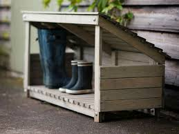 home wooden wellie and parcel holder outdoor sheltered storage area