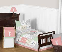 c mint and grey woodsy deer girl toddler bedding 5pc set by sweet jojo