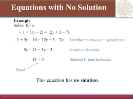 5 equations with no solution example solve for y