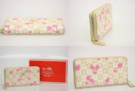 coach coach waverly cherry accordion zip wallet large zip around wallet  f49231