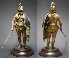 Archaic Greek hoplite with double crested Corinthian helmet and doru