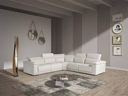 vig estro salotti palinuro white genuine leather sectional sofa w recliners for