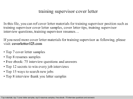 Training Supervisor Cover Letter
