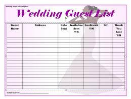 wedding list spreadsheet 35 beautiful wedding guest list itinerary templates