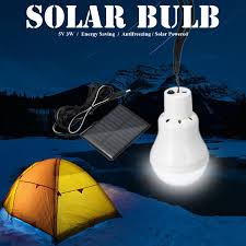 Portable Solar Powered Led Bulb Lamp Camp Tent Fishing Light Outdoor