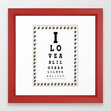 I Love Asl Eye Chart Framed Art Print