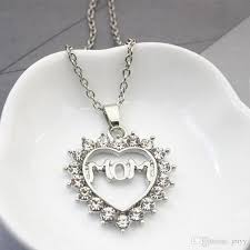 whole new mom pendant love necklace heart rhinestone necklace silver plated chokers necklace jewelry for mother gift picture pendant necklace family