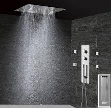 Großhandel Bad Dusche Set Unterputz Thermostat Panel Mixer Wasserhahn Bad Wasserhahn Decke Duschkopf 300x300 Regen Nebel Massagedüsen Von Cncoming