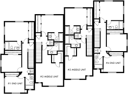 Upper Floor Plan 2 For Townhouse Plans 4 Plex House Plans 3 Three Story Floor Plans