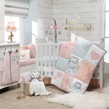 lambs ivy sweet owl dreams pink heart