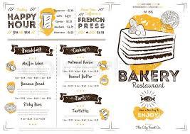 Cafe Menu Template Restaurant Bakery Cafe Menu Template Stock Vector