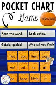 Halloween Thanksgiving Sight Words Pocket Chart Game
