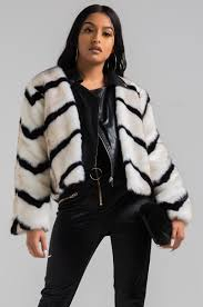 front view and yeti faux fur jacket in black white