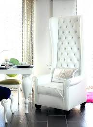 white wingback chair. White Wingback Chair Black And Tall Upholstered In Tufted Intended For