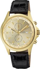 buy citizen quartz watches shipping on citizen quartz citizen quartz mens chronograph stainless watch black leather strap gold dial an3512