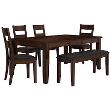table 4 chairs and bench. mango2 dark tone rectangular table, 4 chairs \u0026 bench table and