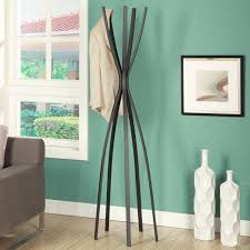 satin black metal 72 inch contemporary coat rack