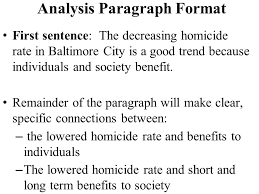 writing assignment paragraph essay one summary paragraph and analysis paragraph format first sentence the decreasing homicide rate in baltimore city is a good