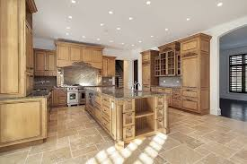 kitchen floor tiles with light cabinets. Modren Cabinets Employing A Stone Backsplash Sand Colored Tile Flooring And Naturally  Light Wood Tones Throughout Kitchen Floor Tiles With Light Cabinets G