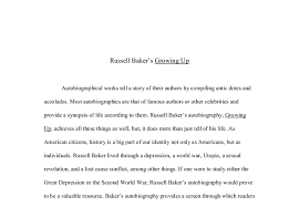 russell baker s growing up a level history marked by teachers com document image preview