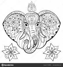 Olifant In Doodle Stijl Kleurplaat Pagina Antistress Voor Olifant