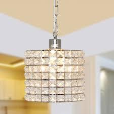 mini crystal chandelier pendant light fixture 1 light chrome finish metal shade