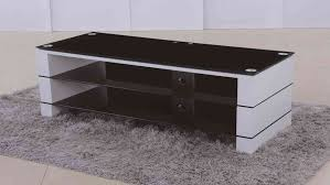 tv stand in white high gloss black glass