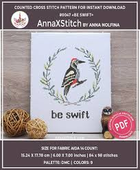 Woodpecker Be Swift Baby Cross Stitch Pattern Pdf By Annaxstitch Woodland Nursery Needlepoint Chart Instant Download 0047