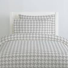 silver gray modern houndstooth duvet cover