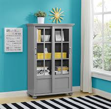 office bookcase with doors. Amazon.com: Ameriwood Home Altra Aaron Lane Bookcase With Sliding Glass Doors, Soft Gray: Kitchen \u0026 Dining Office Doors E