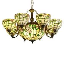 classic stained glass 6 arms flower chandelier with 12 inches inverted chandelier