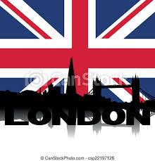 London flag, flags, london, animated, waving, flattered, flags of the world, anthem, hymn. London Skyline Sms Flagge London Skyline Und Text Mit Britischer Flagge Vektorgrafik Canstock