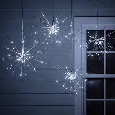 Outdoor Lighting Christmas Stars 4 Silver Starburst Sparkling Christmas Lights Christmas