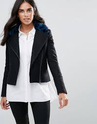 helene berman women s black wool blend biker jacket