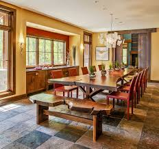 large rustic dining room table. Dinning Rooms:Traditional Dining Room With Large Live Edge Table Red Chairs Rustic E
