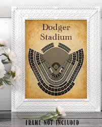 La Dodgers Seating Chart La Dodger Baseball Stadium Seating Chart Art Print 11x14 Unframed Art Print Great Sports Bar Decor And Gift For Baseball Fans