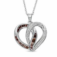 t w enhanced red baguette and white diamond heart pendant in sterling