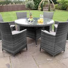 maze rattan garden furniture baby la grey 6 seater round table set