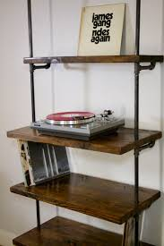 vinyl record furniture. Industrial Vinyl Record Storage Shelf Unit - Modern Bookcase With Turntable Stand Shelving Furniture LP Shelves O