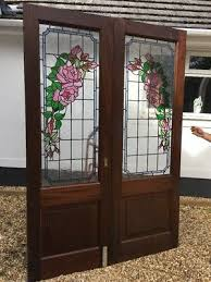 large edwardian stained glass doors