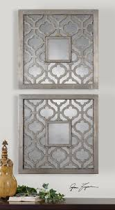 Dimensional Wall Art Moroccan Trellis Antiqued Silver Framed Wall Mirror Set