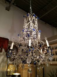 stunning italian rococo style cobalt blue beaded and cut glass eight light chandelier